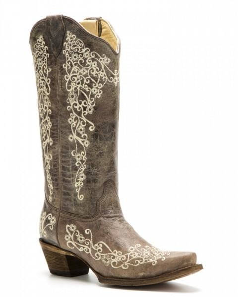 Ladies antique brown cow leather boots with Mexican style flower embroidery
