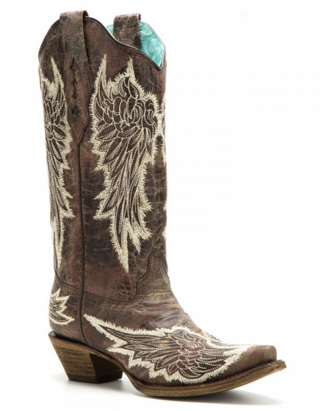 Women natural distressed leather with wing embroidery cowgirl style boots
