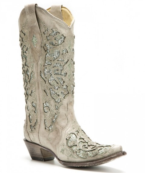 Ladies bone white cowgirl boots with sparkling crystals and green glitter