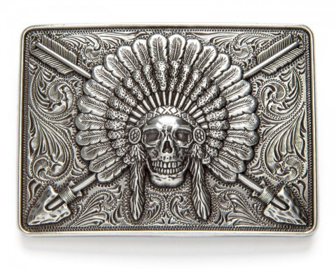 Ariat Indian chief skull with crossed arrows western belt buckle