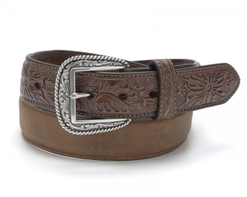 Ariat greased brown cowboy belt with western embossed tabs