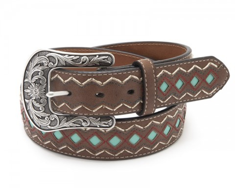 Zig zag stitching Ariat brown genuine leather western belt with blue diamond mosaics