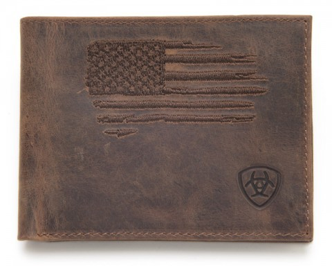 Tanned rustic brown leather Ariat bifold wallet with embroidered American flag