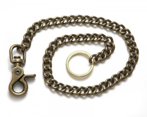 Long antique brass metallic chain for custom wallets