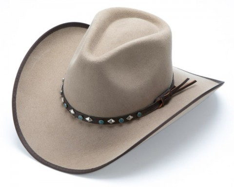 Unisex sand colour wool felt cowboy hat with turquoise and concho hat band