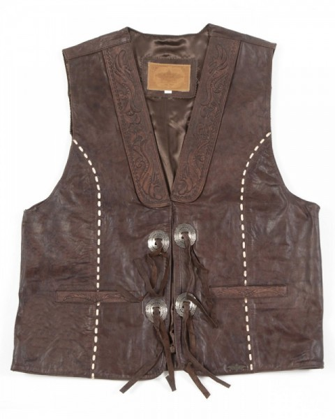 Mens Stars & Stripes distressed brown leather tooled cowboy vest