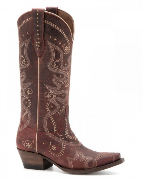 Denver Boots goat leather red cowgirl boots with golden studs