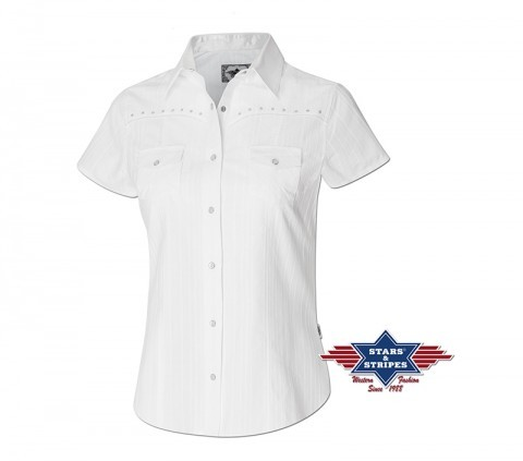 Ladies western white short sleeved blouse with rhinestones
