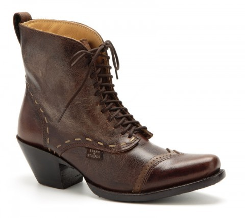 Women vintage look crackled brown leather laced ankle boots