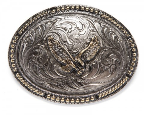 Rodeo style Mexican big size engraved belt buckle with golden eagle