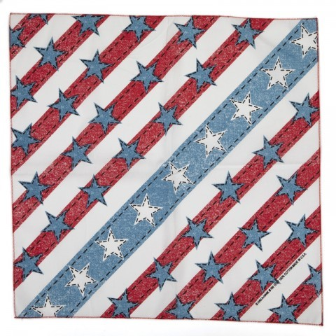Western fashion distressed denim look US flag print bandana. The perfect accessory for your jeans