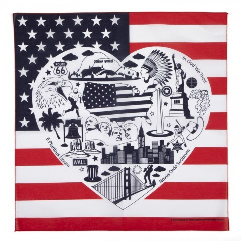 US flag bandana printed with the most important American culture and history landmarks. Buy your american bandana online