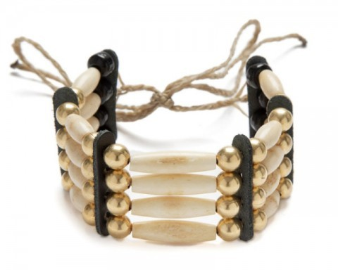 Native American style bracelet with natural carved bone beads