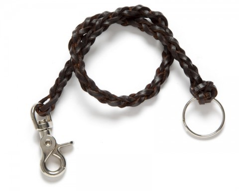 Brown leather braided chain for wallets and checkbooks