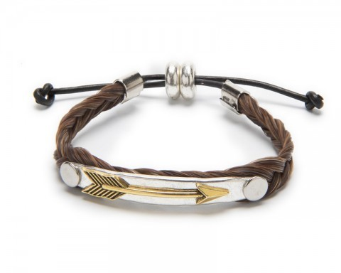 Hand-braided brown horse hair wristband with metallic golden arrow
