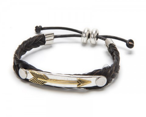 Handcrafted dark brown braided horse hair bracelet with golden arrow