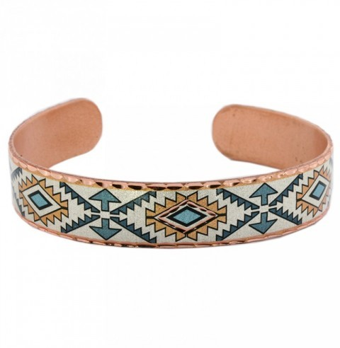 Native American style copper cuff bracelet with blue arrows and mosaics