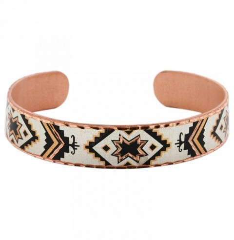 Native American style copper cuff bracelet with stars inlay