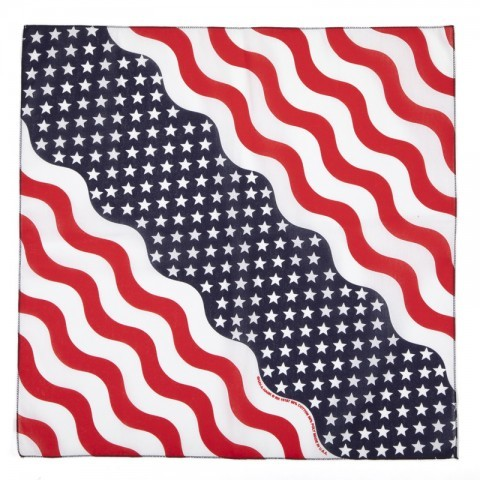 US flag design inspired bandana, when you fold it becomes a flashy scarf for the neck, head or shirt
