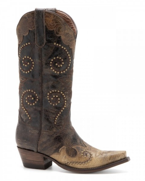 Cowgirl fashion crackled brown boots with beige colour overlay and studs