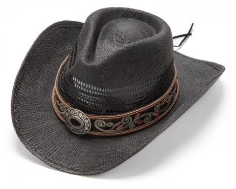 Summer country black straw hat with embroidered leather band and decorative buckle