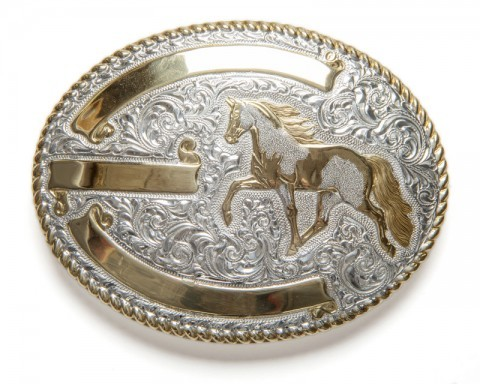 Silver and bronze electroplated Crumrine western buckle with trotting horse