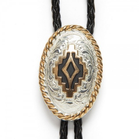 Electroplated silver Crumrine bolo tie with mosaic design