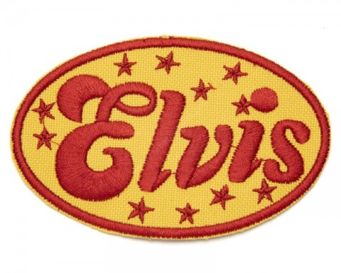 Yellow & red rocker style Elvis embroidered clothing patch