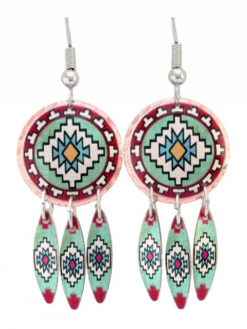 Turquoise green and red mosaic dreamcatcher women earrings