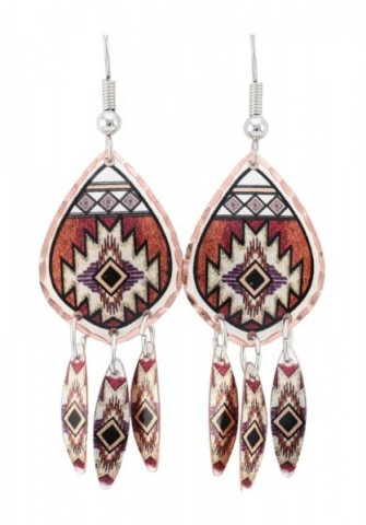 Native American jewelry tear-shape copper earrings with hanging feathers