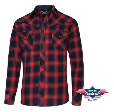 Mens red and black checkered country style long-sleeved cotton shirt
