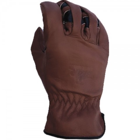 Seamless brown leather lightweight work gloves