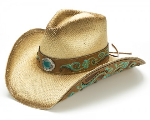 Cowgirl embroidered toasted Panama straw hat with turquoise colour stone
