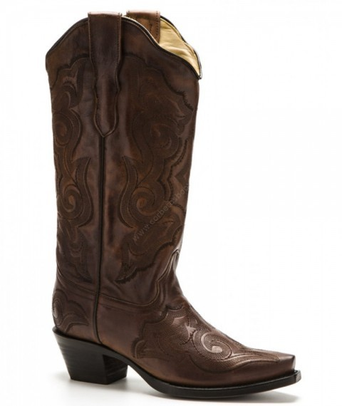 Mexican ladies western chestnut brown boots with dark embroidery