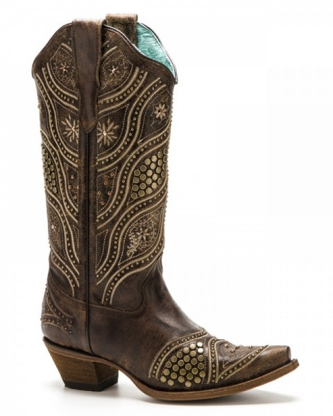 Brown leather cowgirl fashion Corral Boots with antique bronze studs