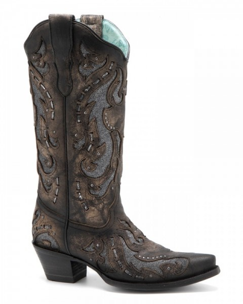 Distressed vintage look Corral ladies boots with metallic grey glitter