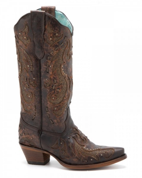 Cognac leather cowgirl style Corral high leg boots with golden glitter