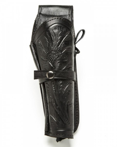 Tooled black leather western gun holster