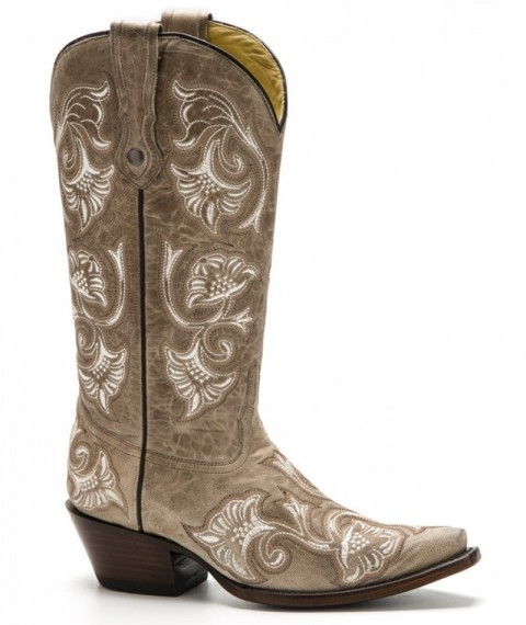 Women cream western Corral Boots with full bone flower stitching