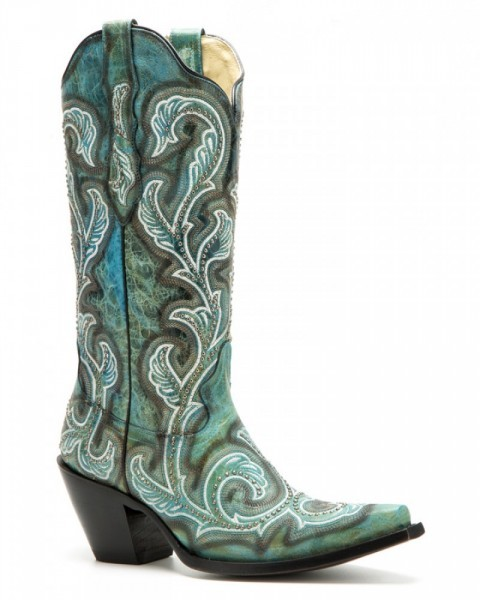 Ladies Mexican style turquoise blue cow leather boots with studs