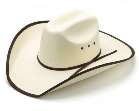 Men & Women beige canvas western hat with brown edge
