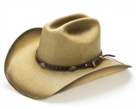 Sand colour canvas western hat with longhorn silver conchos