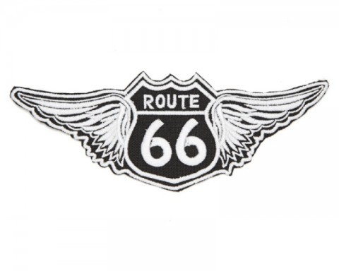 Route 66 winged black classic road signal biker patch