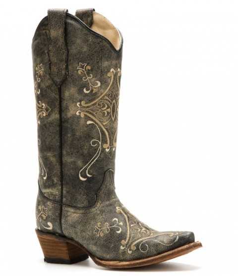 Cowgirl style black crackled leather western boots with mosaic shape embroidery