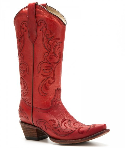 Women Mexican style distressed red leather boots with embroidery