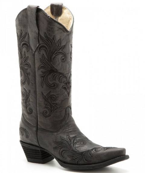 Circle G dark grey leather with black embroidery western ladies boots