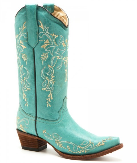 Ladies turquoise blue leather cowgirl style boots with beige embroidery