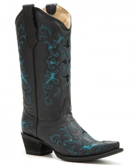 Cowgirl style women greased black cowhide boots with blue and black stitching