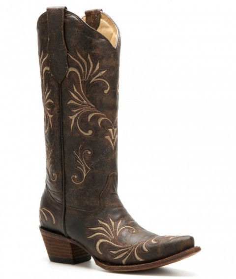 Ladies fashion antique brown leather western boots with beige embroidery