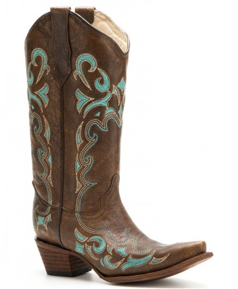 Women Circle G boots chestnut brown cowhide and turquoise stitching